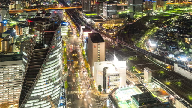 Aerial view of Nagoya Cityscape at night Japan