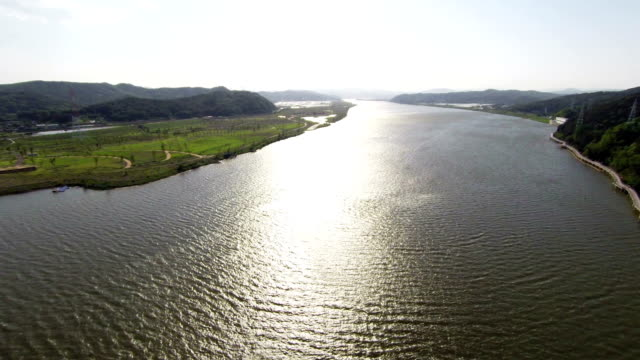 aerial view of nakdong river(the longest river in south korea) - daegu stock videos and b-roll footage