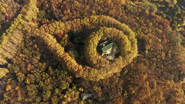 aerial view of nanjing nanjing meiling palace in autumn,jiangsu province,china - palace 個影片檔及 b 捲影像