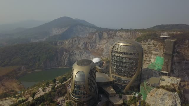 aerial view of nanjing pukou laoshan hive hotel on october 19 2019 in nanjing jiangsu province of china - nanjing stock videos & royalty-free footage