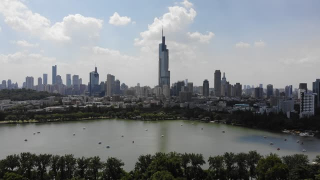 aerial view of nanjing urban skyline,jiangsu province,china. - nanjing stock-videos und b-roll-filmmaterial