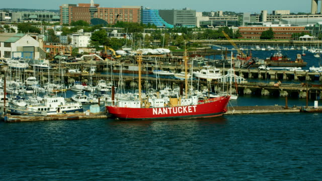 aerial view of nantucket lightship boston harbor massachusetts - lightship stock videos and b-roll footage