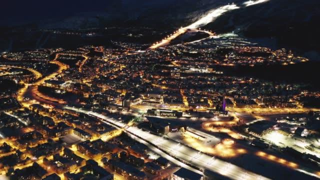 aerial view of narvik night, norway - スキー板点の映像素材/bロール