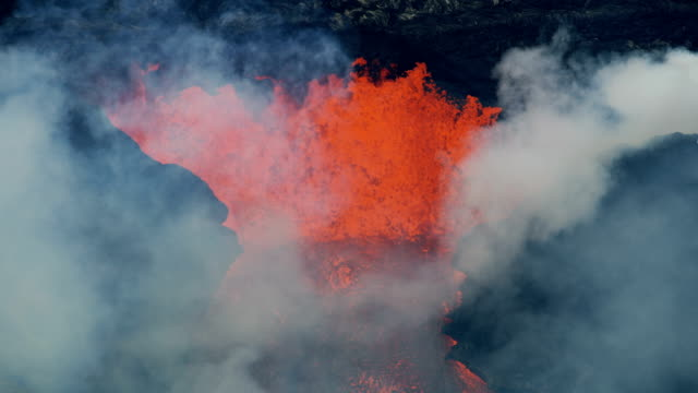 Aerial view of natural red hot boiling lava