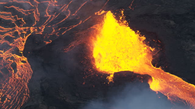 Aerial view of natural red hot flowing lava