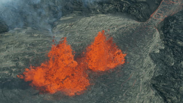 Aerial view of natural red hot lava flowing
