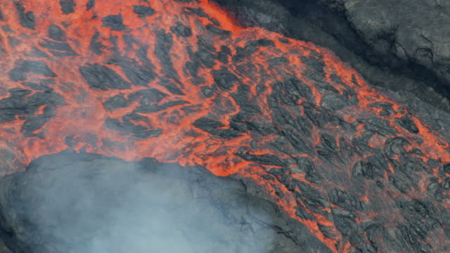 Aerial view of natural red hot lava moving