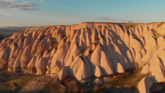 aerial view of natural rock formations in cappadocia, turkey - local landmark stock videos & royalty-free footage