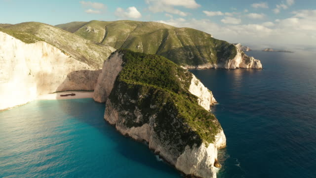 aerial view of navagio (shipwreck) beach in zakynthos island, greece. - greece stock videos & royalty-free footage