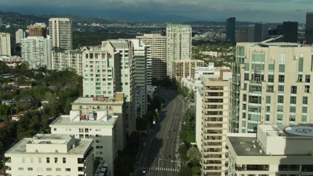 aerial view of near-empty wilshire boulevard - westwood neighborhood los angeles stock videos & royalty-free footage