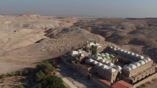 Aerial view of Nebi Musa Mosque, Judean desrt, West Bank, believed to be the tomb of Moses.