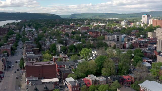 aerial view of neighborhood in harrisburg, pennsylvania - street name sign stock videos & royalty-free footage