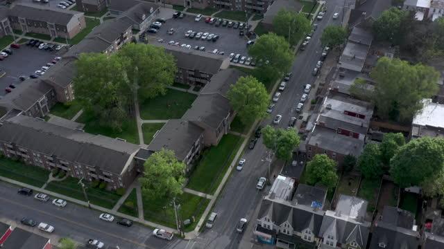 aerial view of neighborhood in lancaster, pennsylvania - lancaster pennsylvania stock videos & royalty-free footage