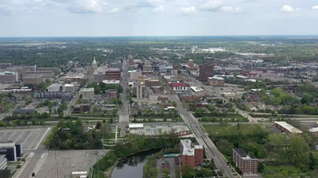 aerial view of neighborhood in lansing, michigan - lansing stock videos & royalty-free footage