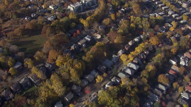 aerial view of neighborhood, massachusetts, united states of america - boston massachusetts stock-videos und b-roll-filmmaterial