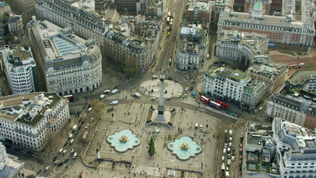 aerial view of nelson's column and buildings london - nelson's column stock videos and b-roll footage