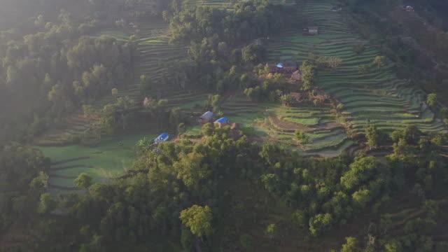 Luchtfoto van Nepali boerderijen