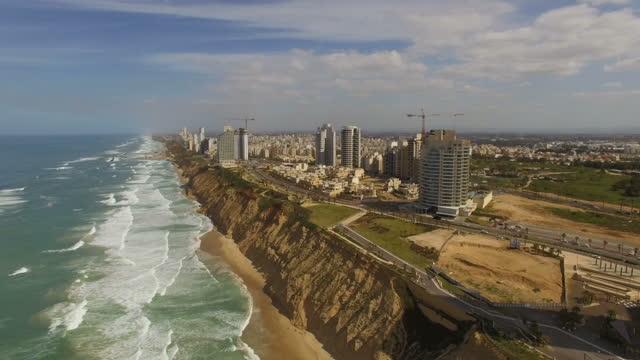 Aerial view of Netanya City and it's coastline- part of the Israeli coastal plain