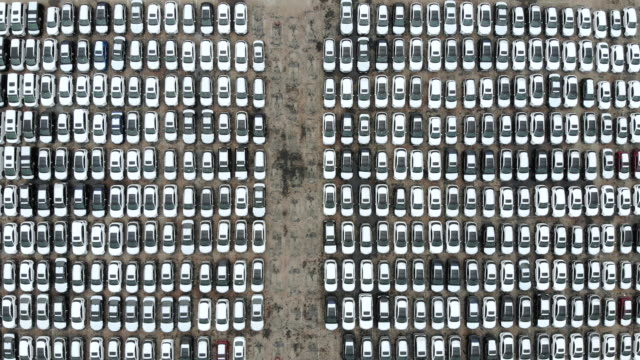 aerial view of new cars for sale - car plant stock videos & royalty-free footage