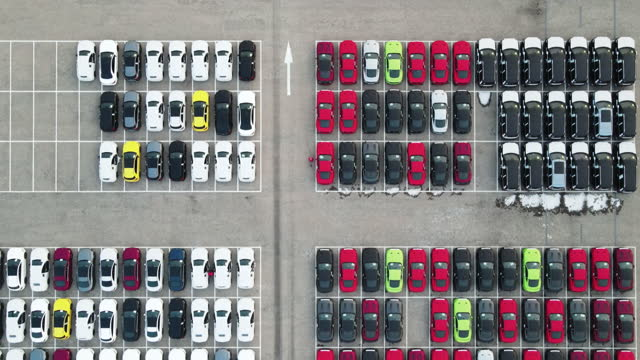 aerial view of new cars in harbor - vitality stock videos & royalty-free footage