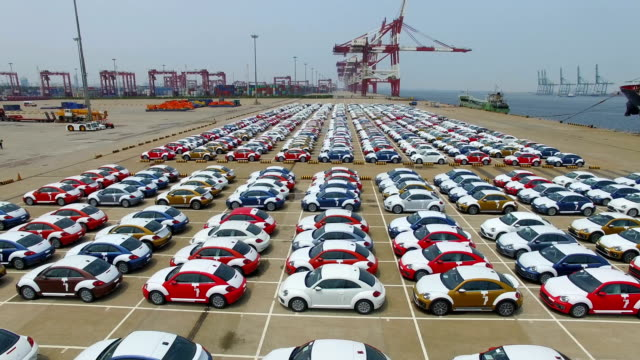Aerial View of New cars parked Tianjin Harbor/Tianjin,China.