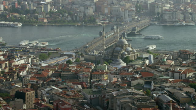 aerial view of new mosque in istanbul - yeni cami mosque stock videos and b-roll footage