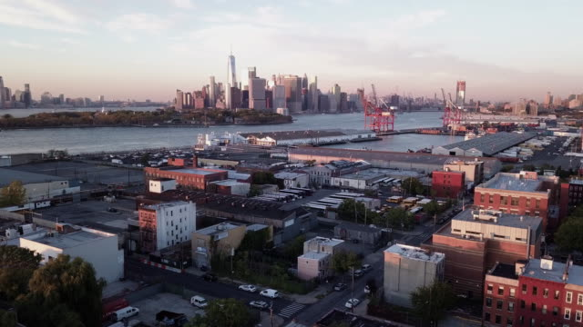 aerial view of new york city and red hook, brooklyn. - brooklyn new york stock videos & royalty-free footage