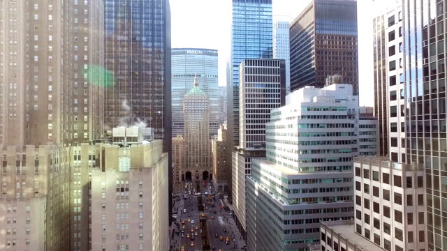 aerial view of new york city avenue - skyscraper stock videos & royalty-free footage