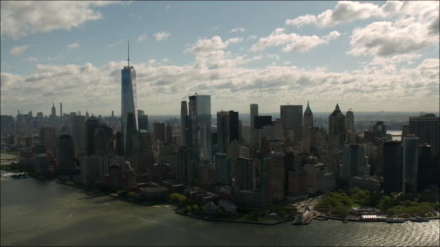 aerial view of new york city downtown manhattan facing north - 2016 stock videos and b-roll footage
