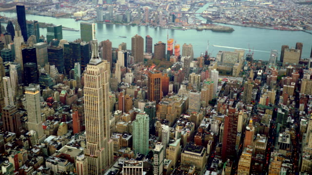 aerial view of new york city midtown skyline landmarks - world trade centre manhattan stock videos and b-roll footage