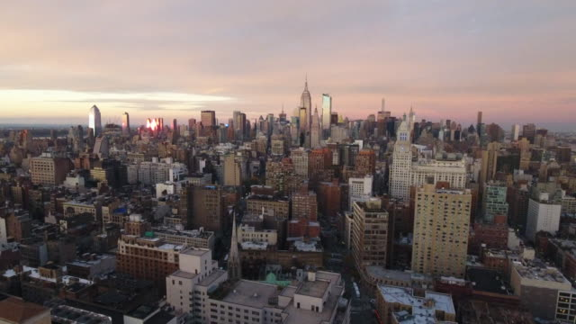 aerial view of new york city. new york, ny usa. - midtown manhattan stock videos & royalty-free footage