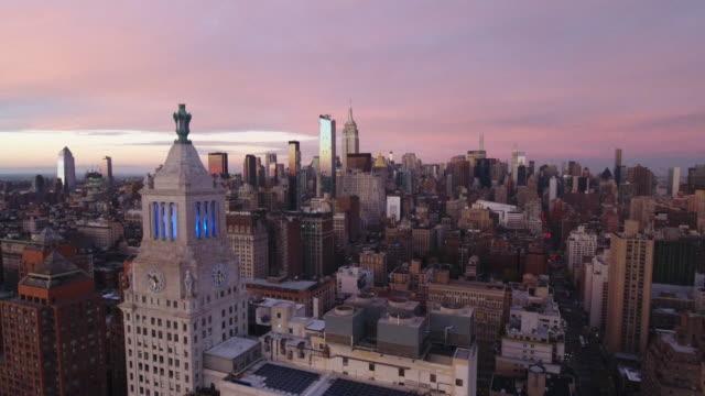 vídeos de stock, filmes e b-roll de aerial view of new york city. new york, ny usa. - baixo manhattan