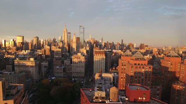 vídeos de stock e filmes b-roll de aerial view of new york city. new york, ny usa. - new york state