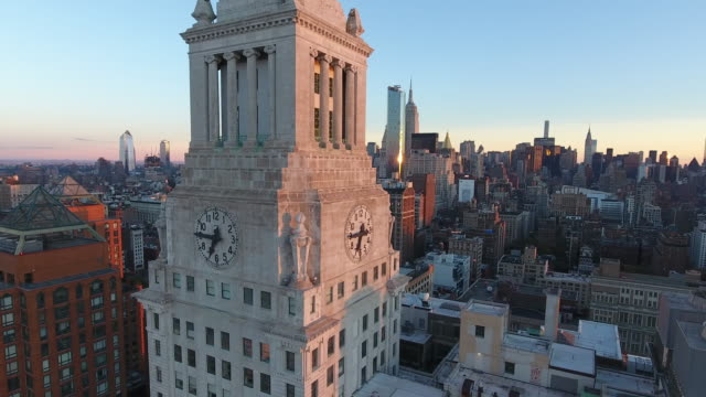 aerial view of new york city. new york, ny usa. - turmuhr stock-videos und b-roll-filmmaterial