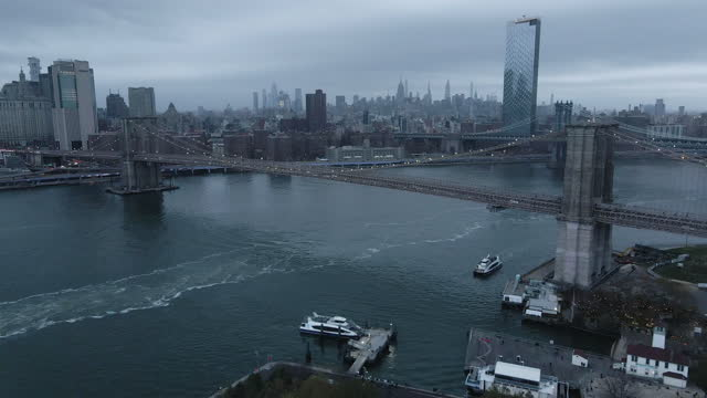 aerial view of new york city on a gloomy evening - panoramic stock videos & royalty-free footage
