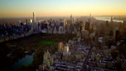 aerial view of new york city skyline metropolis. cityscape establishment shot of high rise buildings