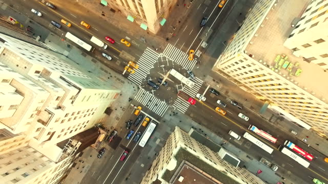 aerial view of new york city street - skyscraper stock videos & royalty-free footage
