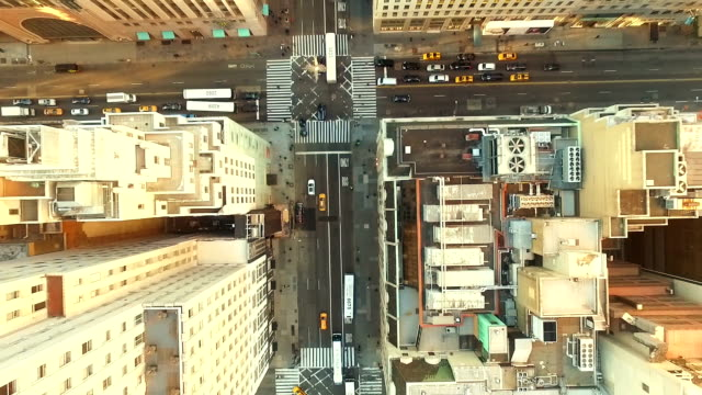 aerial view of new york city street - fifth avenue stock videos & royalty-free footage