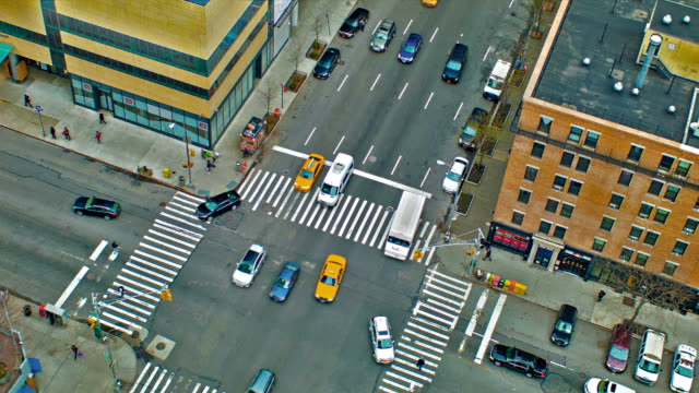 aerial view of new york city street - flatiron building manhattan stock videos and b-roll footage