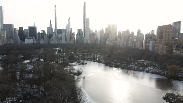 stockvideo's en b-roll-footage met aerial view of new york city's central park during the winter - central park manhattan