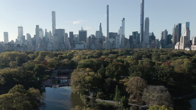 aerial view of new york city's central park - midtown manhattan stock videos & royalty-free footage