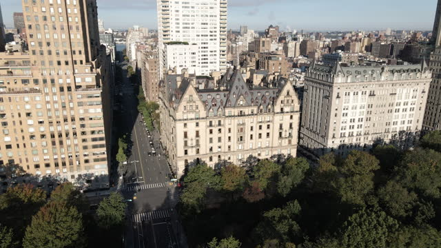 aerial view of new york city's dakota building - establishing shot stock videos & royalty-free footage