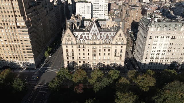 aerial view of new york city's dakota building - manhattan stock videos & royalty-free footage