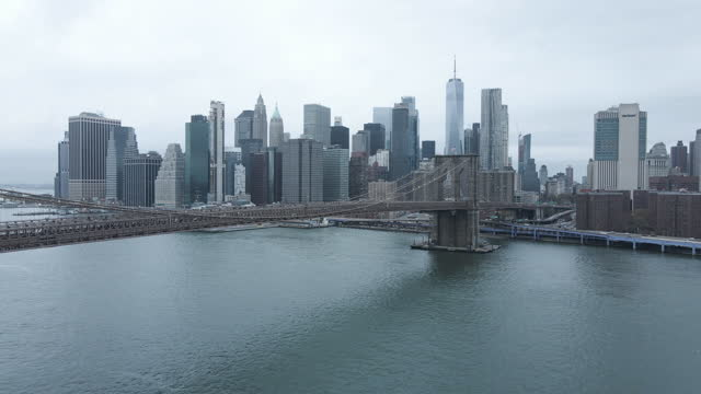 aerial view of new york city's financial district - ominous stock videos & royalty-free footage