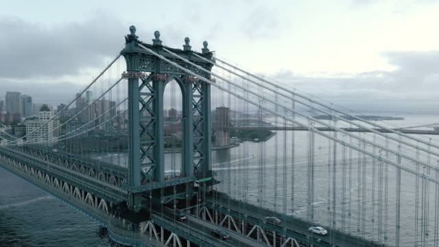 aerial view of new york city's manhattan bridge on a stormy afternoon - international landmark stock videos & royalty-free footage