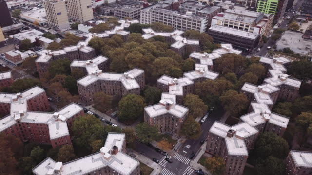 Aerial view of New York City's Queensbridge houses on a cloudy morning.