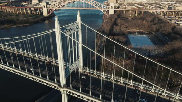 aerial view of new york city's robert f. kennedy triborough bridge - queens new york city stock videos & royalty-free footage