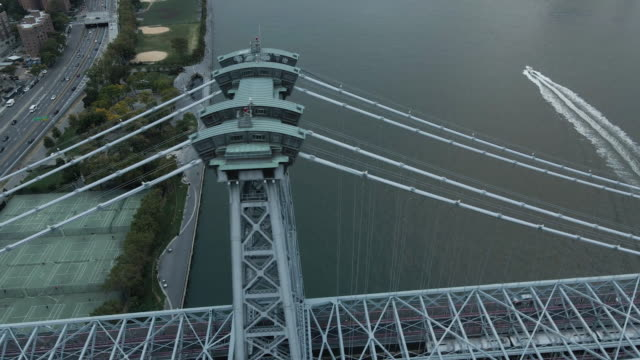 aerial view of new york city's williamsburg bridge as it spans the east river connecting manhattan and brooklyn - brooklyn new york stock videos & royalty-free footage