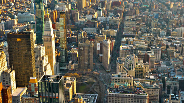 aerial view of new york street. flatiron building - flatiron building manhattan stock videos & royalty-free footage