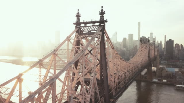 aerial view of new york's queensboro bridge - queens new york city stock videos and b-roll footage